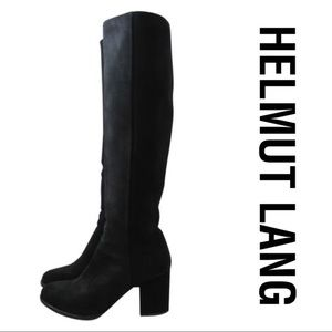 $625 HELMUT LANG Suede Pull On Knee-High Boots 8